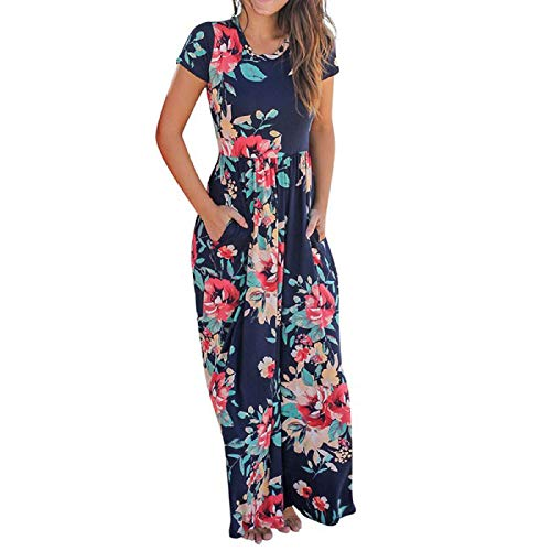 Wintialy Women Casual O Neck Print Floral Short Sleeve Ankle-Length Dress Navy