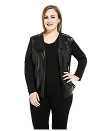Really Love Women's Plus Size Pu Duster Jacket Faux Leather Blazer