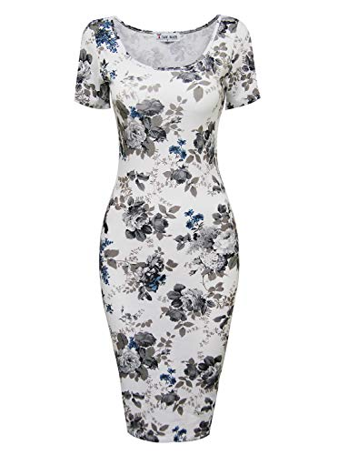 Dress Pencil - TAM WARE Women's Sweetheart Short Sleeve Midi Dress TWCWD053-WHITEGRAY-US M
