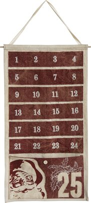 Burgundy Pocket Canvas Advent Calendar