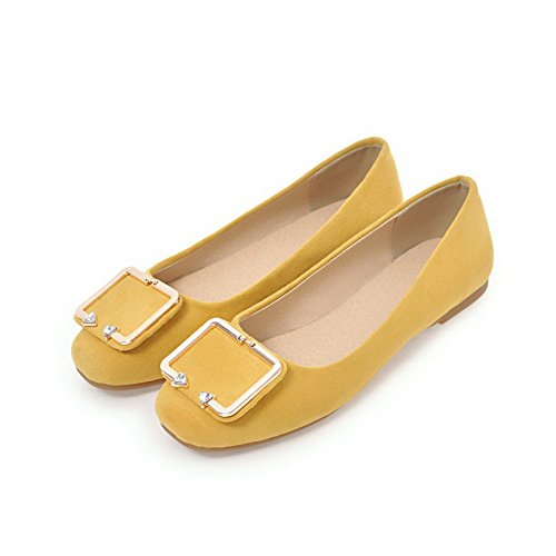 Odomolor Women's Pull-On Closed-Toe Low-Heels Patent Leather Soild Pumps-Shoes Yellow hJBcnx9K