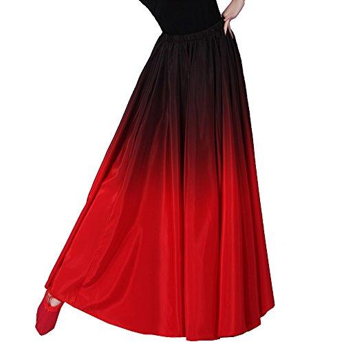 gonna BACKGARDEN JB360 Dress black ventre TOP gradiente rosso del one BL size Performance party XS~M Evening nero Prom indiano Circle Spagna black danza top Bull GB for top T6FZvFx