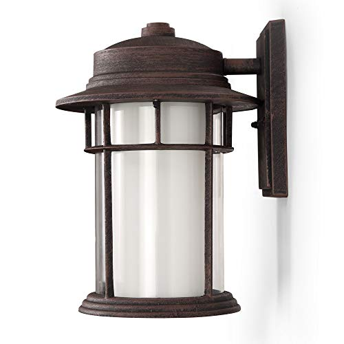 Outdoor Sconce Finish - Outdoor Wall Lanterns/Sconce, 1-Light Exterior Wall Mount Light in Rustic Brown Finish with Frost Glass, Aluminum Alloy Patio/Porch Lighting Fixture, 60W