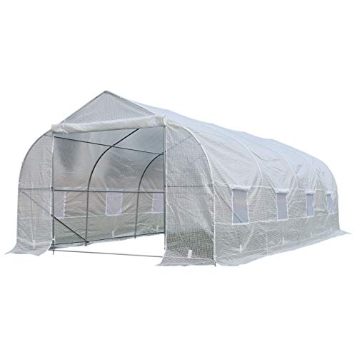 Outsunny 19.5' Portable Walk-in Garden Greenhouse - White