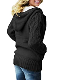 Actloe Women Front Button Hooded Swearter Outwear Cable Knit Long Sleeve Cardigan with Pocket