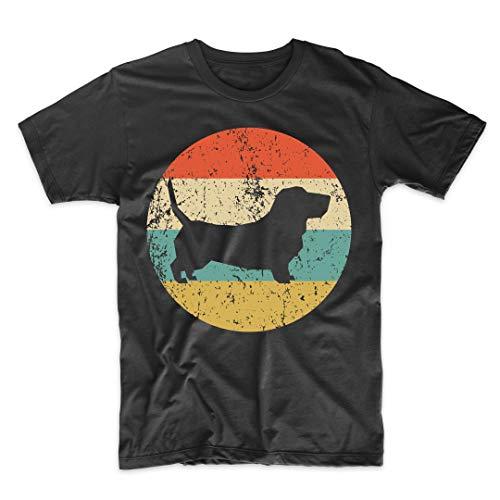Basset Hound Shirt - Vintage Retro Basset Hound Dog T-Shirt, Large Black