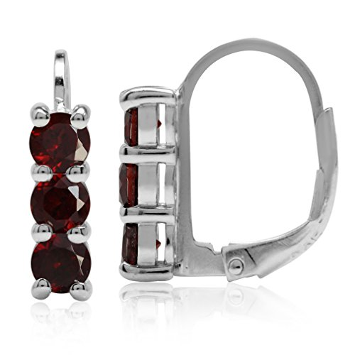 (1.2ct. 3-Stone 3.5MM Natural Garnet White Gold Plated 925 Sterling Silver Leverback Earrings)