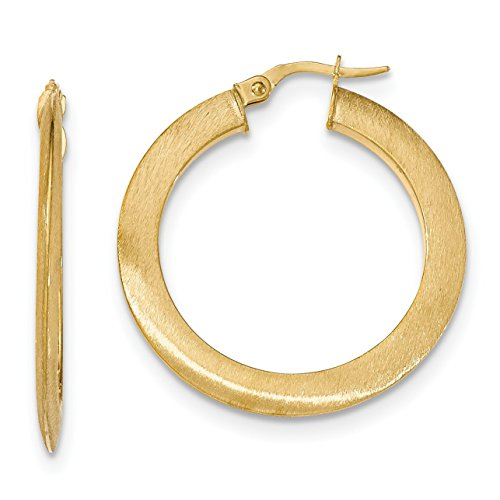 14K Yellow Gold Satin Hoop Earrings - (1.38 in x 1.38 in) 14k Yellow Gold Satin Hoop