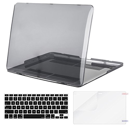 MOSISO Case Only Compatible MacBook Pro (W/O USB-C) Retina 13 Inch (A1502/A1425)(W/O CD-ROM) Release 2015/2014/2013/end 2012 Plastic Hard Shell & Keyboard Cover & Screen Protector, Transparent Black
