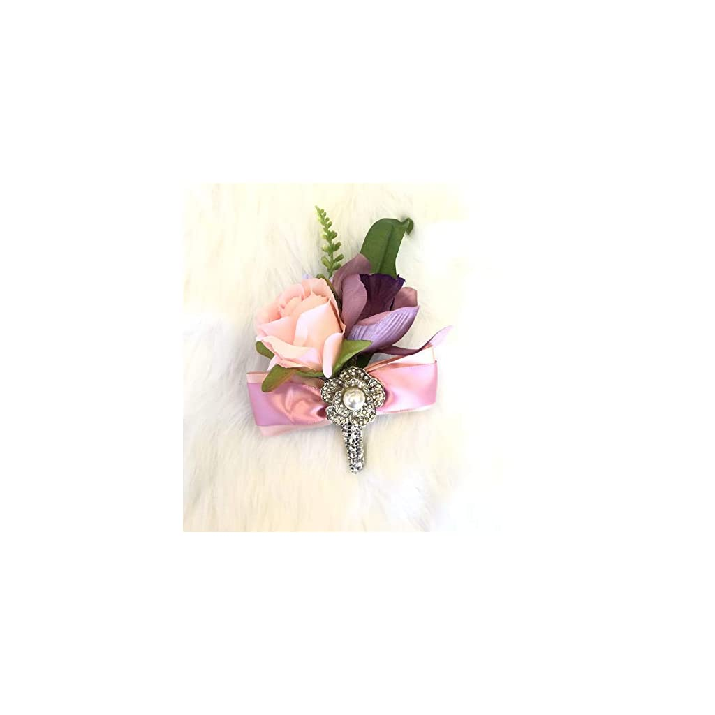 Abbie Home Dusty Pink Peony Rose Wrist Corsage Boutonniere Real Touch Flowers for Prom Party Wedding with Pearl Jewel Décor (Boutonnière)