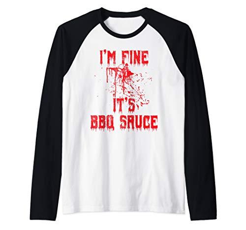 Blood Splatter - I'm Fine BBQ Sauce Funny Halloween Zombie Raglan Baseball Tee]()