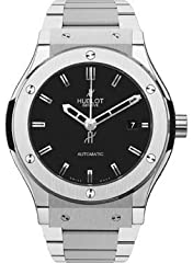 Titanium case with a titanium bracelet. Fixed titanium bezel. Mat black dial with silver-tone hands and index hour markers. Dial Type: Analog. Date display at the 3 o'clock position. Automatic movement. Scratch resistant sapphire crystal. Ske...
