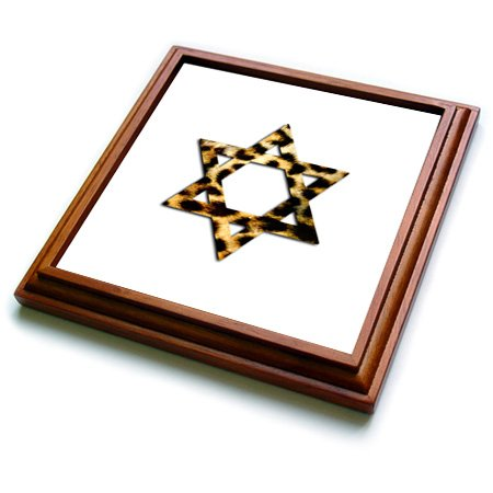 (3dRose Star of David in Faux Leopard Print Pattern. Funky Cheetah Magen David Trivet with Ceramic Tile, 8 By 8-Inch, Brown)