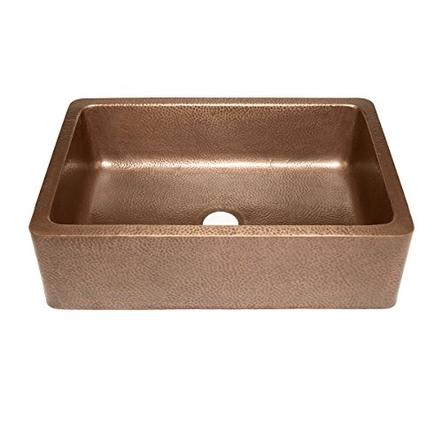 Adams Farmhouse Apron Front Handmade Copper Kitchen Sink 33 in. Single Bowl in Antique Copper