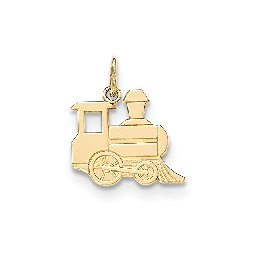 Train Gold 10k Solid (14K Yellow Gold Jewelry Pendants & Charms Solid Polished Toy Train Pendant)