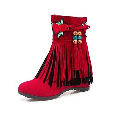 Boots Round US10 Leatherette 5 Career Booties Winter Office Shoes Ankle Tassel Wedge CN43 UK8 amp;Amp; RTRY Casual 5 For Boots Heel Women'S EU42 Toe Fashion Boots Spring wvxYvAq1