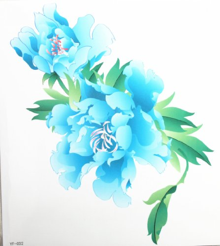 Spestyle latest design look like real large blue peony flower fake tattoo stickers