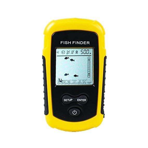 Moligh doll FF1108-1 Portable Sonar Alarm Fish Finder Echo Sounder 0.7-100M Transducer Sensor Depth Finder #B3 Yellow