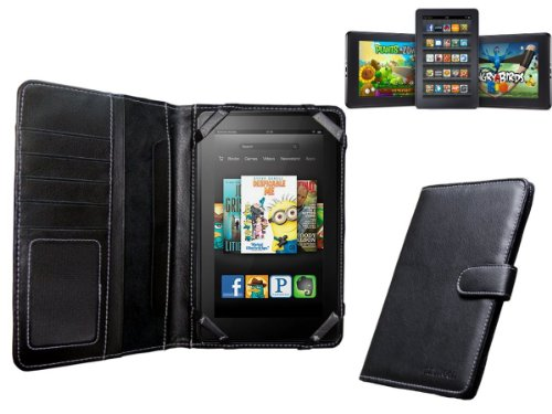 Navitech Genuine Black Napa Leather Flip Open Book Style Carry Case Cover Compatible with The Kindle Fire HD 7 Inch Tablet by Amazon Android 3.2
