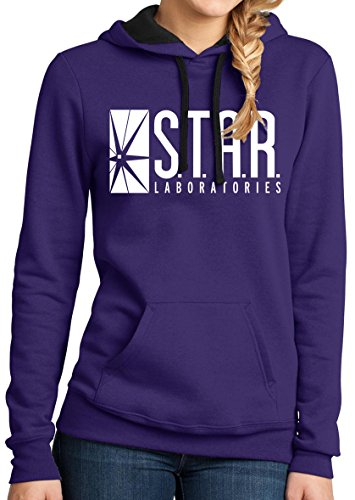 (These Colors Don't Run Star Labs Hoodie Womens Star Laboratories Hooded Sweatshirt Purple L)