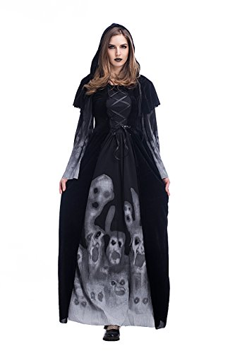 Women's Halloween Ghost Witch Hooded Costume Cloak Dress Outfit Black,Adult,Large -