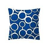 LIEJIE Blue Throw Pillow Case Square Pillowcase Pillow Cover Modern Cushion Cover Decoration for Sofa Bed Chair Car 18 x 18 Inch