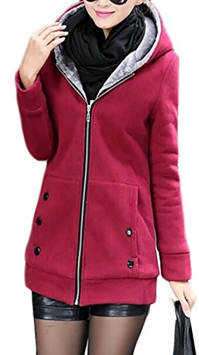 Lined Sleeve Womens Red Hooded UK Sweatshirt Jacket Long today Fleece Wine af7xFnqtw