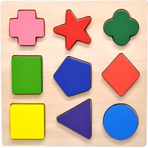 GYBBER&MUMU Wooden Preschool Colorful Shape Puzzle - Version -