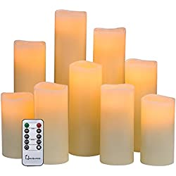 "Hausware Flameless Candles Battery Operated Candles H 4"" 5"" 6"" 7"" 8"" 9"" Real Wax Pillar Flickering LED Candle with 10-Key Remote and Timer Control, Set of 9 (Ivory Color)"
