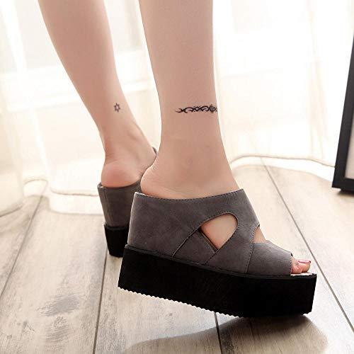 Les Sandales Up Strap Plage Épais Cross Fond A D Mer Sauvage Sandale Mode Chaude De Lace Loisirs Tous Sandal Bord Jiameng Jours Femme Compensser Vacances Ete Gris Talon nx6f88w1qO