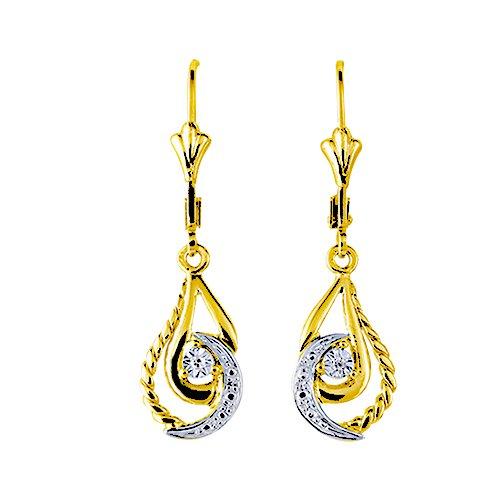 Boucles d'oreilles pendantes - Or bicolore 9 cts - Diamant - 9K1879GB