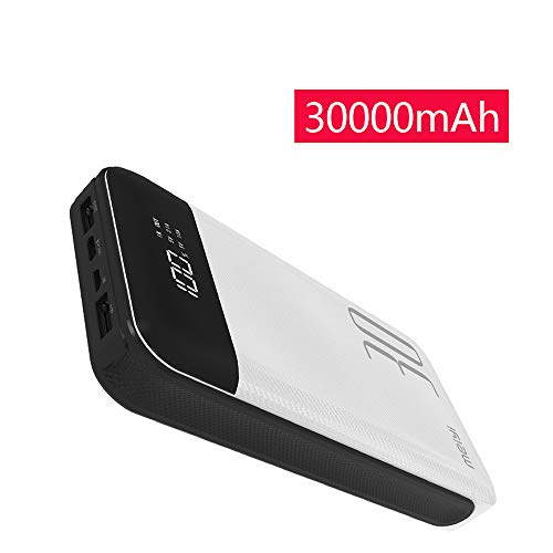 30000mAh Power Bank, meiyi Huge Capacity Portable Battery Charger with 2 USB Output Ports, LED Display 2 Inputs External Battery Pack for iPhone iPad Samsung Android Phones GT30 (Best Portable Charger For Ipad)