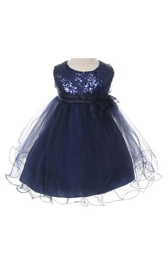 Sequin & Tulle Special Occasion Holiday Dress - Navy Baby S (3-6 Month)