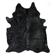 Solid Black Cowhide Rug - Large Cow hide Cow Skin Rug