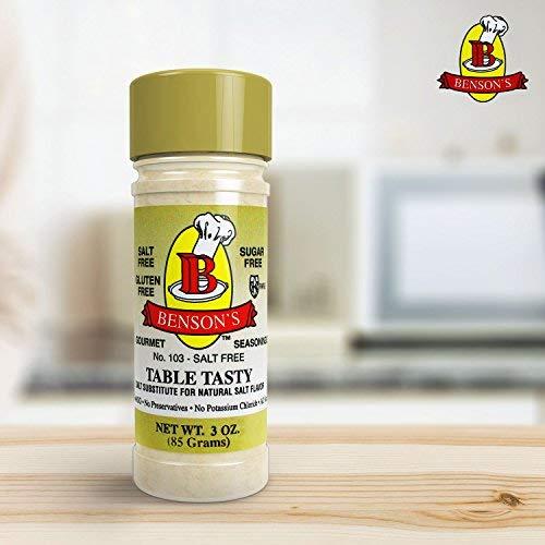 Benson's - Table Tasty Salt Substitute - No Potassium Chloride Salt Substitute - No Bitter After Taste - Good Flavor - No Sodium Salt Alternative - New Size 3 oz Bottle With Shaker Top by Benson's Gourmet Seasonings (Image #3)