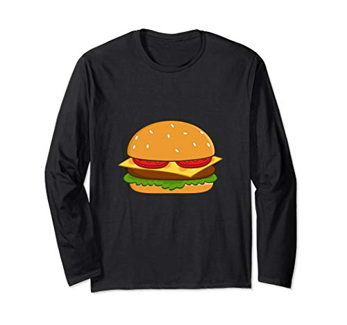 (Cheeseburger with Lettuce and Tomato Long Sleeve T-Shirt)