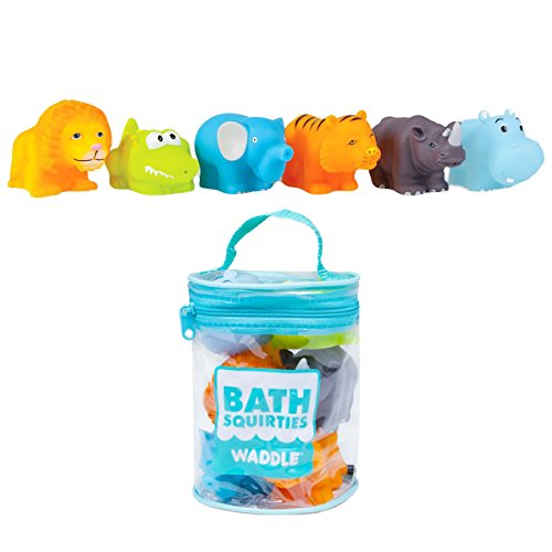 Waddle Baby Bath Toys Safari Jungle Animals 6 Pack Lion Elephant Tiger and More (Sports Squirters)