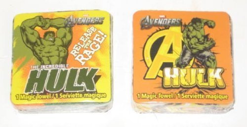 (2 Different Incredible Hulk Magic Pop Up Towel Wash Cloths - Varied Designs)