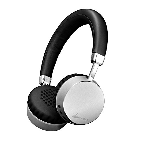 Meidong E6 Wireless Bluetooth V4.0 Aluminum Stereo on Ear Headphones with Mic - Silver