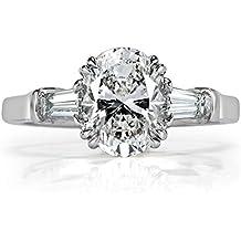 Mark Broumand 2.41ct Oval Cut Diamond Three-Stone Engagement Ring