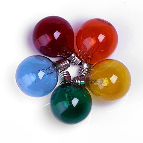 25pc Satin Multi Color Globe G40 Candelabra Screw Base