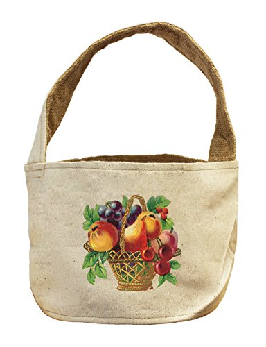 Canvas And Burlap Storage Basket Cherry Grape Mix Fruit Basket By Style In Print (Fruit Gift Baskets Tampa)
