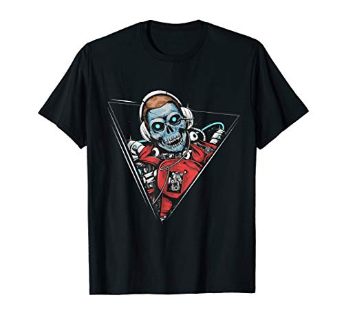 Skeleton DJ Mixing on the Decks Playing for Halloween T-Shirt
