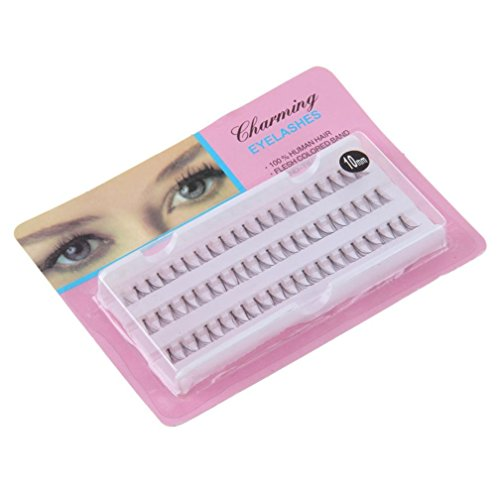60 PC Thick Long Cross Party False Eyelashes Black Band Fake Eye Lashes (10mm)