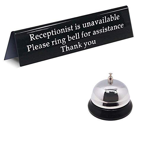 - Please Ring Bell Sign for Service Assistance and Loud Metal Call Bell for Receptionists/Front Desk Office Sign for When You are Away Unavailable from The Front (7.9