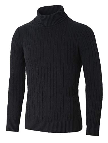 uxcell Men Turtle Neck Long Sleeves Pullover Cable Knitted Sweater Black S (US 36) ()
