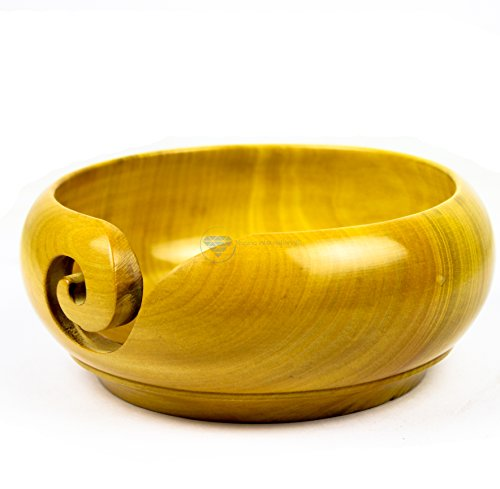Yellow Teak Wood Crafted Premium Portable Light Weight Knitting & Crochet Yarn Bowl | Stitch Accessories & Storage | Nagina International (Large) by Nagina International