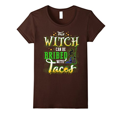 Sexy Costumes Taco (Womens This Witch Can Be Bribed With Tacos Halloween Shirt Small)