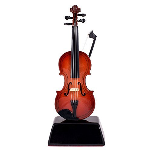 Violin Music Instrument Miniature Replica on Stand - Size 6 in.