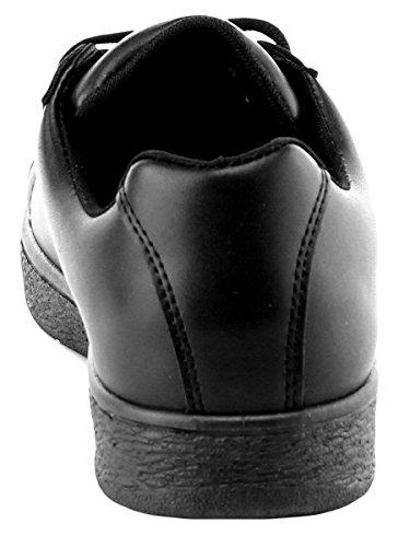 Cambridge Utvalgte Kvinner Rund Tå Klassiske Grunnleggende Solid Mote Sneaker Svart